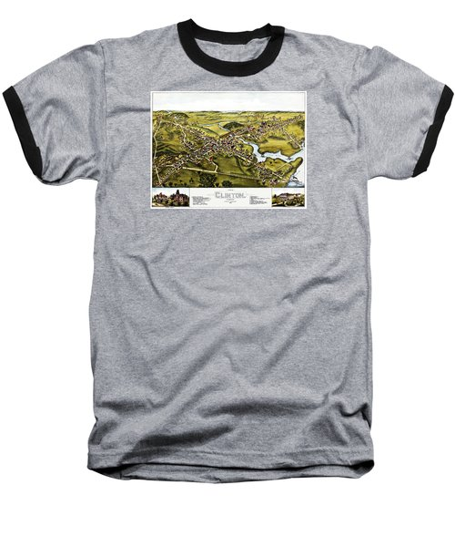 Map Of Clinton Connecticut 1881 Baseball T-Shirt by Phil Cardamone