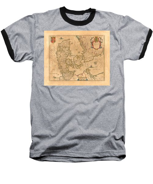 Map Of Denmark 1645 Baseball T-Shirt by Andrew Fare