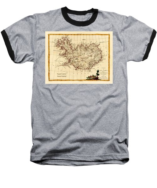 Map Of Iceland 1791 Baseball T-Shirt by Andrew Fare