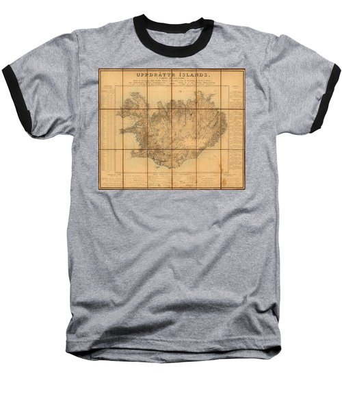 Map Of Iceland 1849 Baseball T-Shirt by Andrew Fare