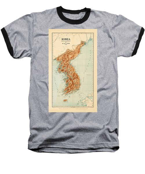 Map Of Korea 1903 Baseball T-Shirt by Andrew Fare