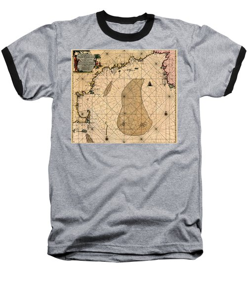 Map Of New England 1700 Baseball T-Shirt by Andrew Fare