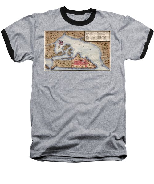 Map Of San Juan 1770 Baseball T-Shirt by Andrew Fare