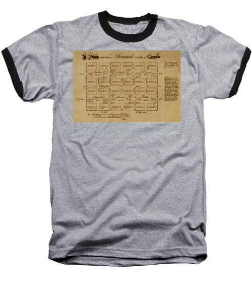 Map Of Savannah 1761 Baseball T-Shirt