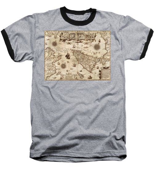 Map Of Sicily 1594 Baseball T-Shirt by Andrew Fare