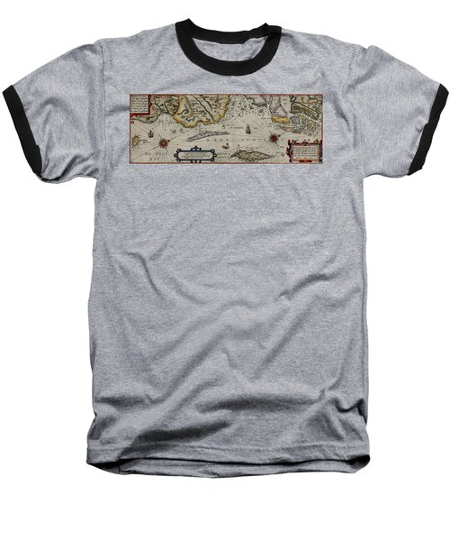 Map Of Sweden 1606 Baseball T-Shirt by Andrew Fare