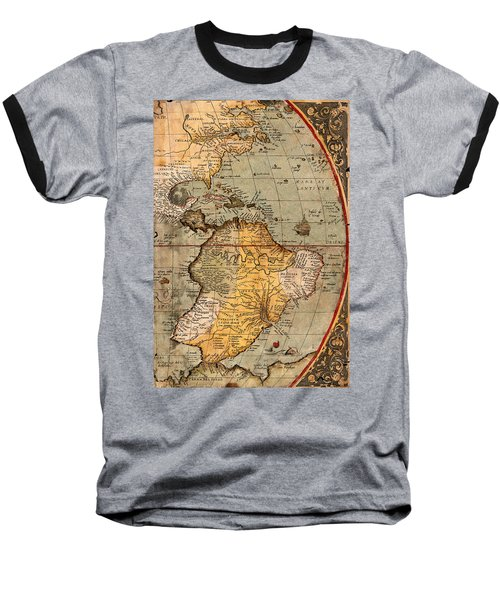 Map Of The Americas 1570 Baseball T-Shirt by Andrew Fare