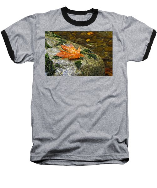 Maple Leaf On A Rock Baseball T-Shirt