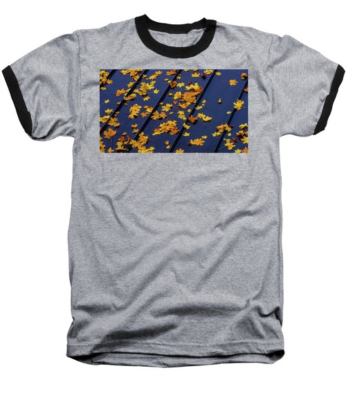 Maple Leaves On A Metal Roof Baseball T-Shirt