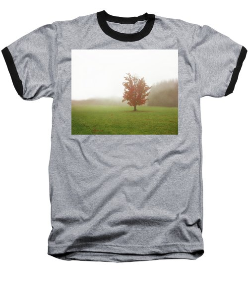 Baseball T-Shirt featuring the photograph Maple Tree In Fog With Fall Colors  by Brooke T Ryan