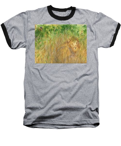 Baseball T-Shirt featuring the painting Mara The Lioness by Vicki  Housel