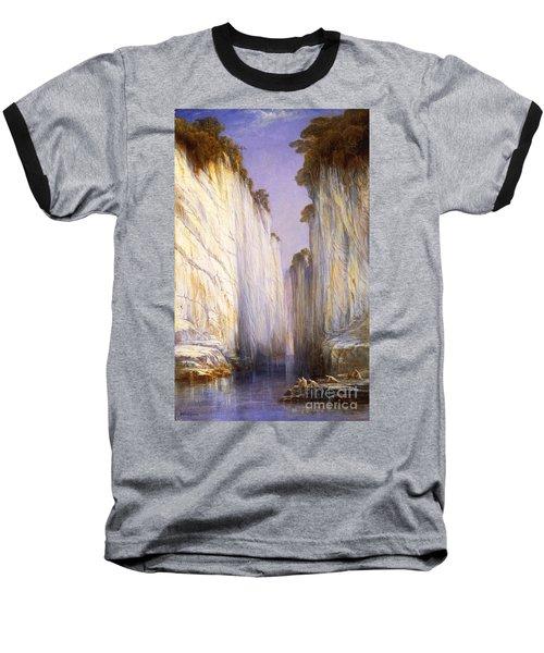 Baseball T-Shirt featuring the painting Marble Rocks - Nerbudda Jubbulpore by Pg Reproductions