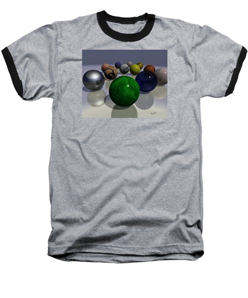 Baseball T-Shirt featuring the digital art Marbles by Walter Chamberlain