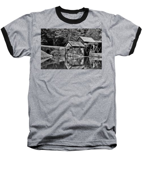 Marby Mill In Black And White Baseball T-Shirt by Paul Ward