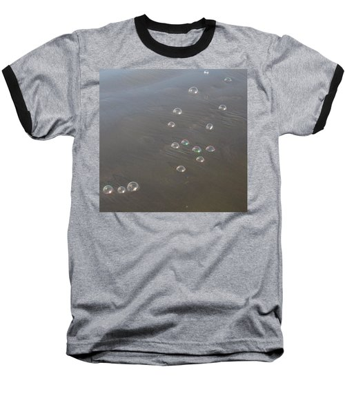 March Of The Bubbles Baseball T-Shirt by Marie Neder