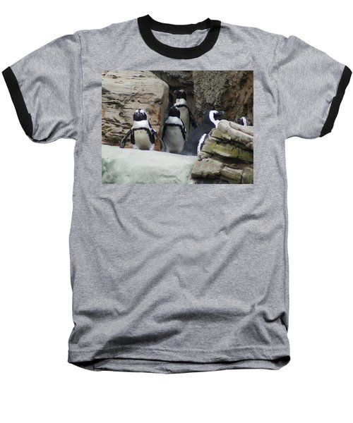 Baseball T-Shirt featuring the photograph March Of The Penguins by B Wayne Mullins