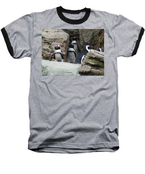 March Of The Penguins Baseball T-Shirt by B Wayne Mullins