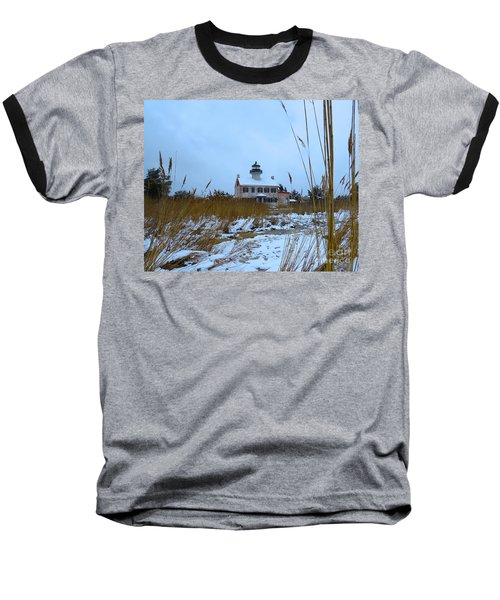 March Snow At East Point Lighthouse Baseball T-Shirt by Nancy Patterson