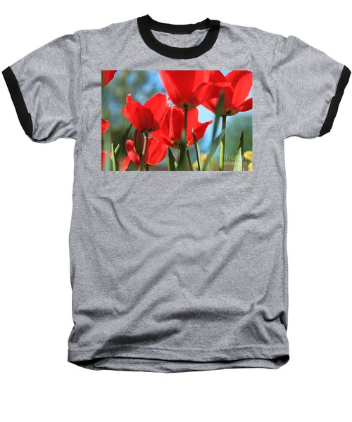 March Tulips Baseball T-Shirt by Jeanette French