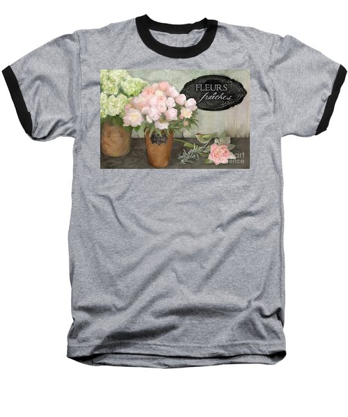Baseball T-Shirt featuring the painting Marche Aux Fleurs 2 - Peonies N Hydrangeas W Bird by Audrey Jeanne Roberts