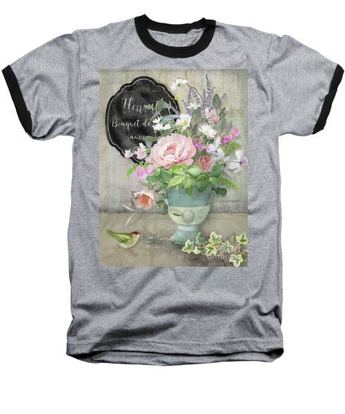 Baseball T-Shirt featuring the painting Marche Aux Fleurs 3 Peony Tulips Sweet Peas Lavender And Bird by Audrey Jeanne Roberts