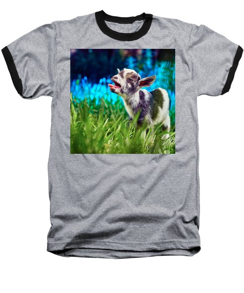Baby Goat Kid Singing Baseball T-Shirt by TC Morgan