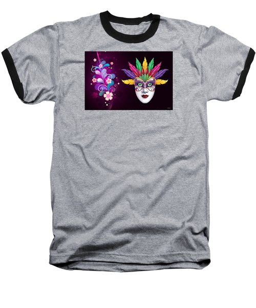 Baseball T-Shirt featuring the photograph Mardi Gras Mask On Floral Background by Gary Crockett