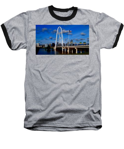 Margaret Hunt Hill Bridge Dallas Flood Baseball T-Shirt by Kathy Churchman