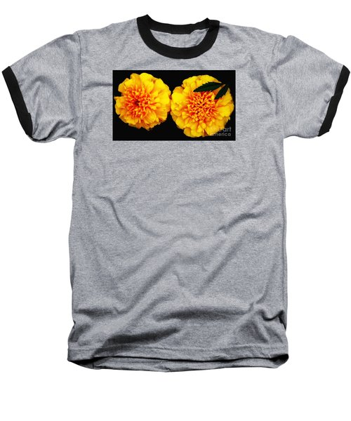 Marigolds With Oil Painting Effect Baseball T-Shirt by Rose Santuci-Sofranko
