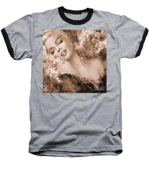 Marilyn Cherry Blossoms, Sepia Baseball T-Shirt