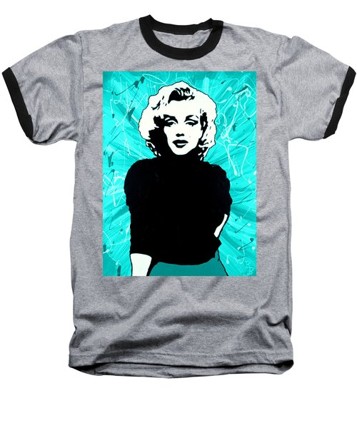 Marilyn Monroe Blue Green Aqua Tint Baseball T-Shirt by Bob Baker