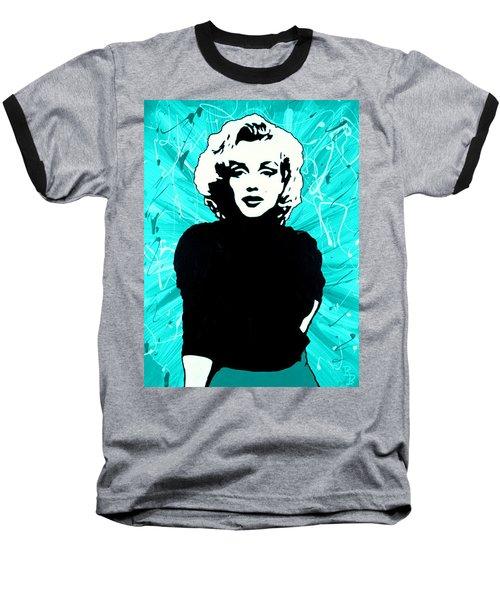 Marilyn Monroe Blue Green Aqua Tint Baseball T-Shirt