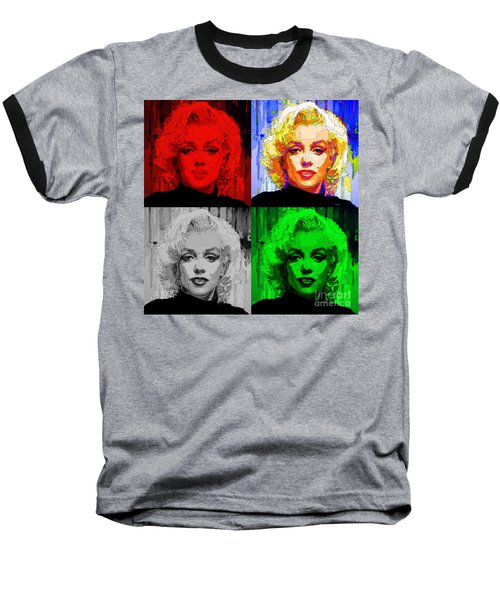Marilyn Monroe - Quad. Pop Art Baseball T-Shirt