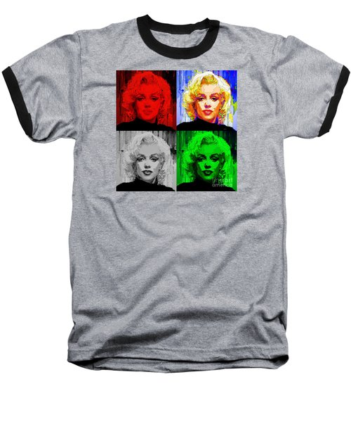 Marilyn Monroe - Quad. Pop Art Baseball T-Shirt