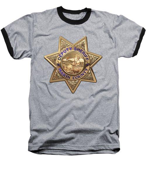 Baseball T-Shirt featuring the digital art Marin County Sheriff's Department - Deputy Sheriff's Badge Over Blue Velvet by Serge Averbukh