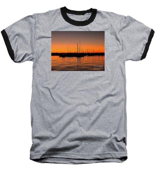 Marina Moonlight Masts Baseball T-Shirt by Shelia Kempf