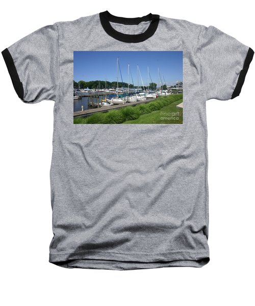 Marina On Black River Baseball T-Shirt