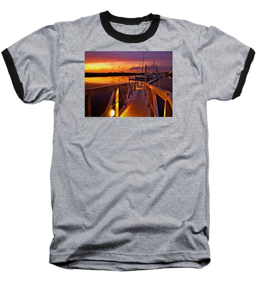 Marina Sunset Baseball T-Shirt by Laura Ragland