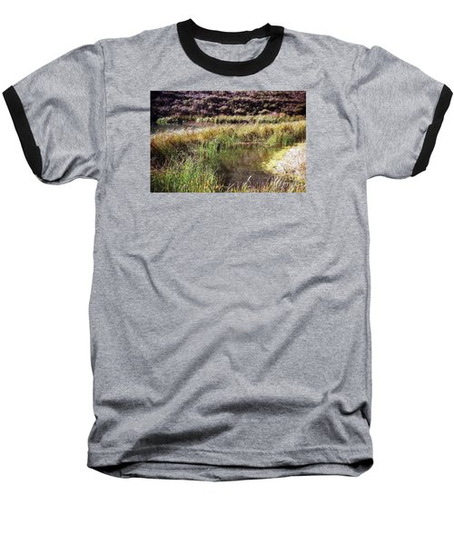 Marine Headlands Pond And Flowers Baseball T-Shirt by Ted Pollard