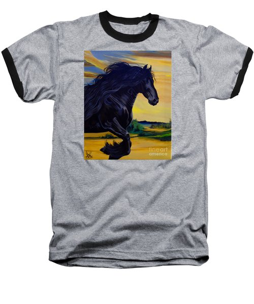 Friesian Paradise Baseball T-Shirt by Cheryl Poland