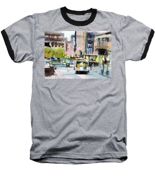 Baseball T-Shirt featuring the painting Market Street by Ed Heaton