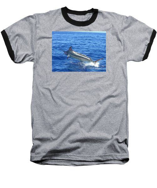 Marlin On The Line Baseball T-Shirt by Merton Allen