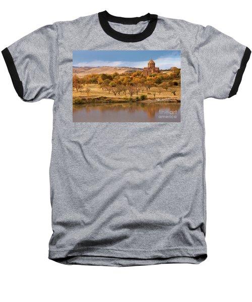 Marmashen Monastery Reflected On Lake At Autumn, Armenia Baseball T-Shirt