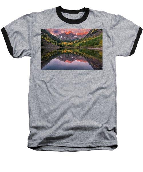 Maroon Bells At Sunrise Baseball T-Shirt