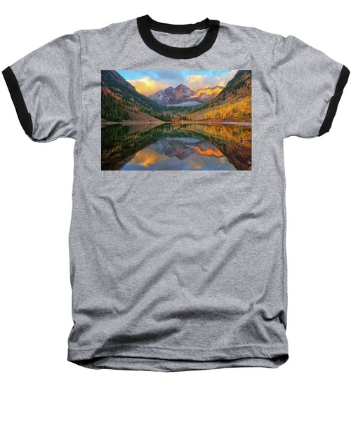 Maroon Bells Autumn Reflections Baseball T-Shirt by Greg Norrell