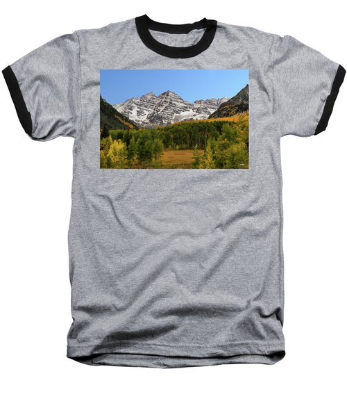 Baseball T-Shirt featuring the photograph Maroon Bells by Dana Sohr