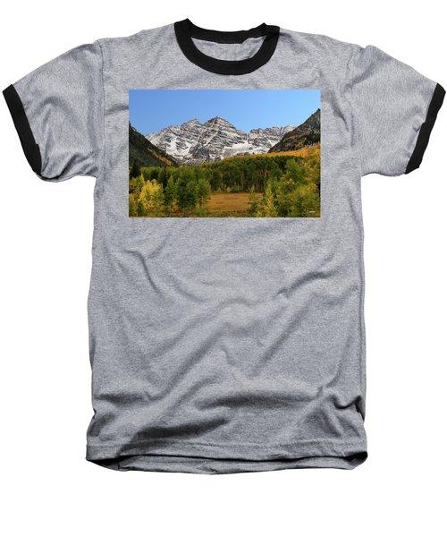 Maroon Bells Baseball T-Shirt by Dana Sohr