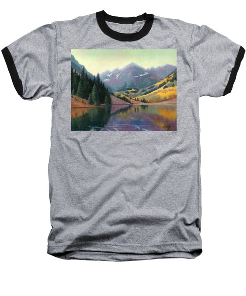 Baseball T-Shirt featuring the painting Maroon Bells In October by Janet King
