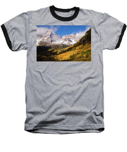 Baseball T-Shirt featuring the photograph Maroon Bells by Steve Stuller