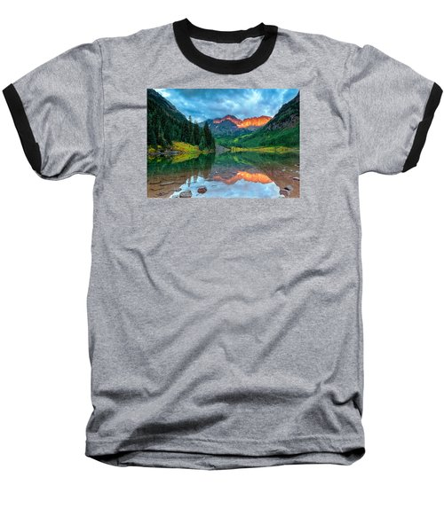 Maroon Bells Sunrise Baseball T-Shirt